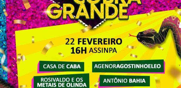 Bloco da Cobra Grande terá carnaval multicultural neste sábado